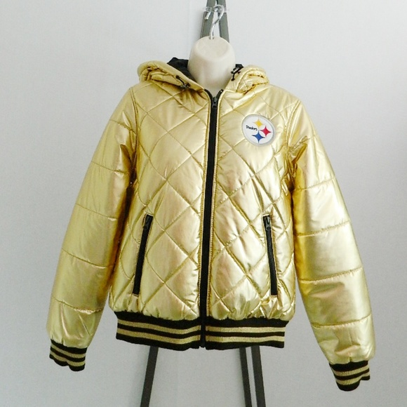check out 1f4d0 7ed68 NFL Pittsburgh Steelers Gold Quilted Hooded Jacket